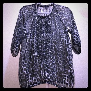 Express sheer 3/4 sleeve button blouse!